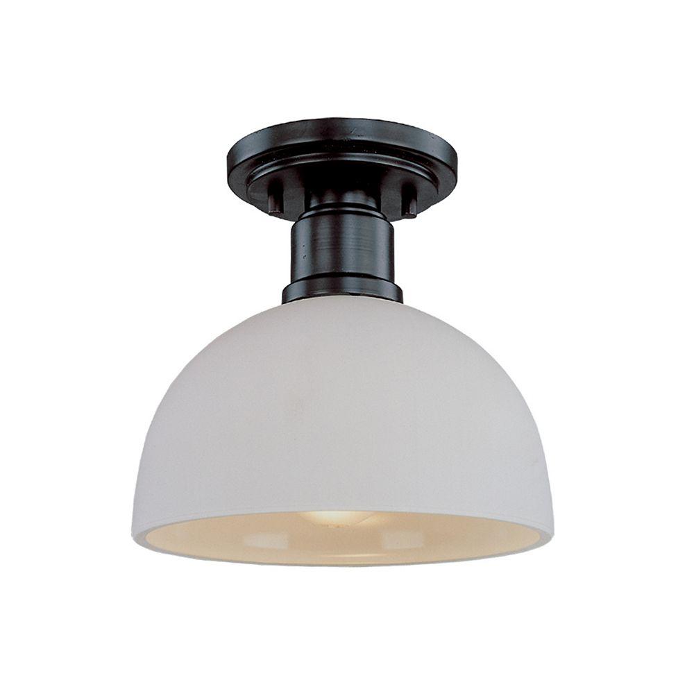 Filament Design 1-Light Bronze Flush Mount with Matte Opal Glass - 8 inch