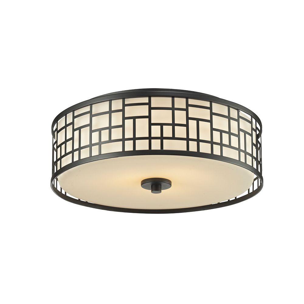 Filament Design Plafonnier bronze à 3 ampoules avec verre opale mat - 16,25 pouces