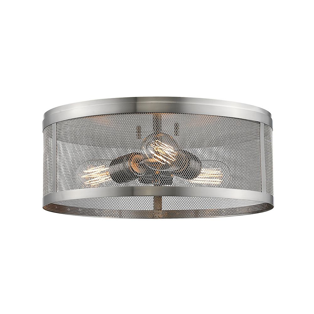Filament Design 3-Light Brushed Nickel Flush Mount with Brushed Nickel Steel Shade - 14.875 inch