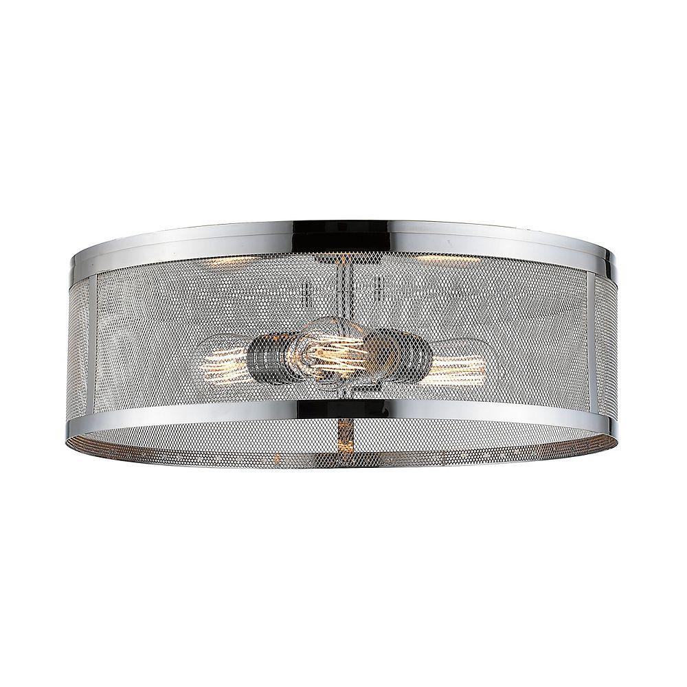 Filament Design 3-Light Chrome Flush Mount with Chrome Steel Shade - 18 inch