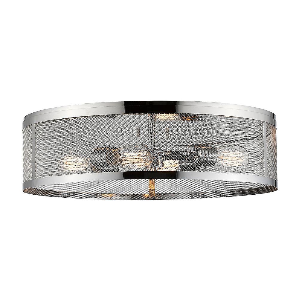 Filament Design 4-Light Chrome Flush Mount with Chrome Steel Shade - 21.125 inch