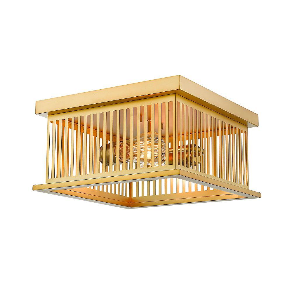 Filament Design 2-Light Brass Flush Mount with Brass Steel Shade - 12 inch