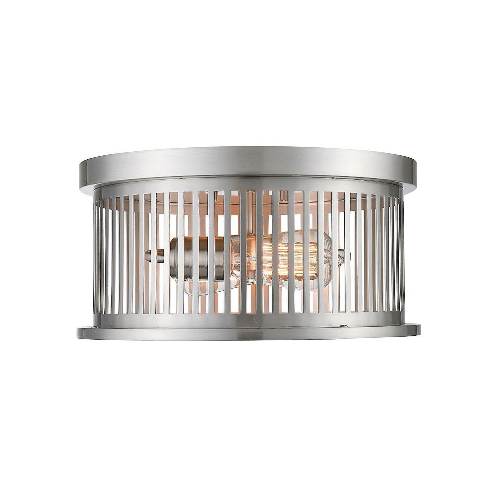 Filament Design 2-Light Brushed Nickel Flush Mount with Brushed Nickel Steel Shade - 13.125 inch