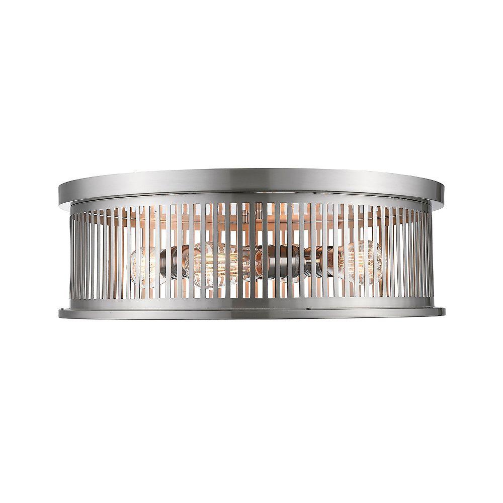 Filament Design Plafonnier à 4 ampoules au fini nickel brossé avec abat-jour en acier nickelé, 20 pouces