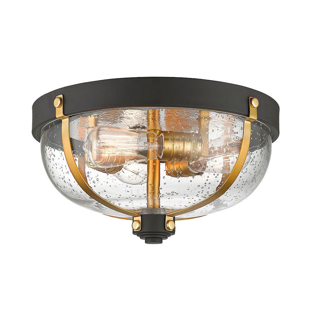 Filament Design Plafonnier à 3 ampoules en bronze et laiton avec verre à gouttes transparent