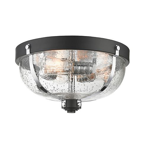 Filament Design 3-Light Matte Black and Chrome Flush Mount with Clear Seedy Glass - 14.875 inch