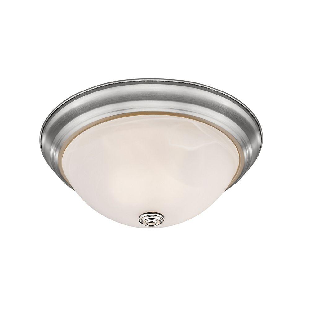 Filament Design Plafonnier à 3 ampoules au fini nickel brossé et verre à remous blanc - 15 po