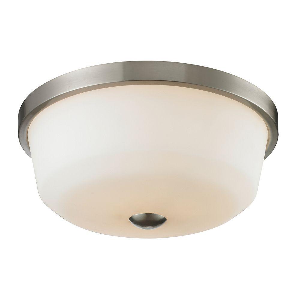 Filament Design 3-Light Brushed Nickel Flush Mount with Matte Opal Glass - 17.75 inch