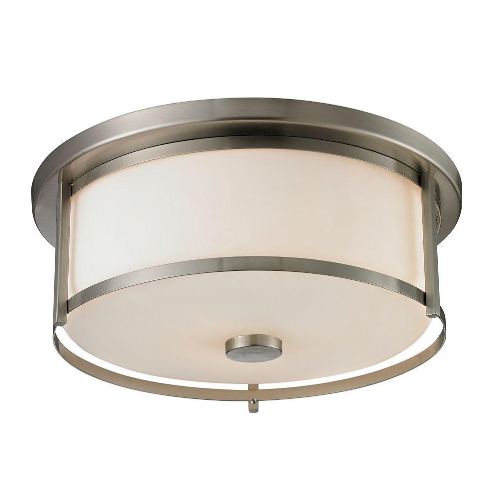 Filament Design Plafonnier à 3 ampoules Nickel Brossé et Verre Opale Mat - 15,75 Pouces