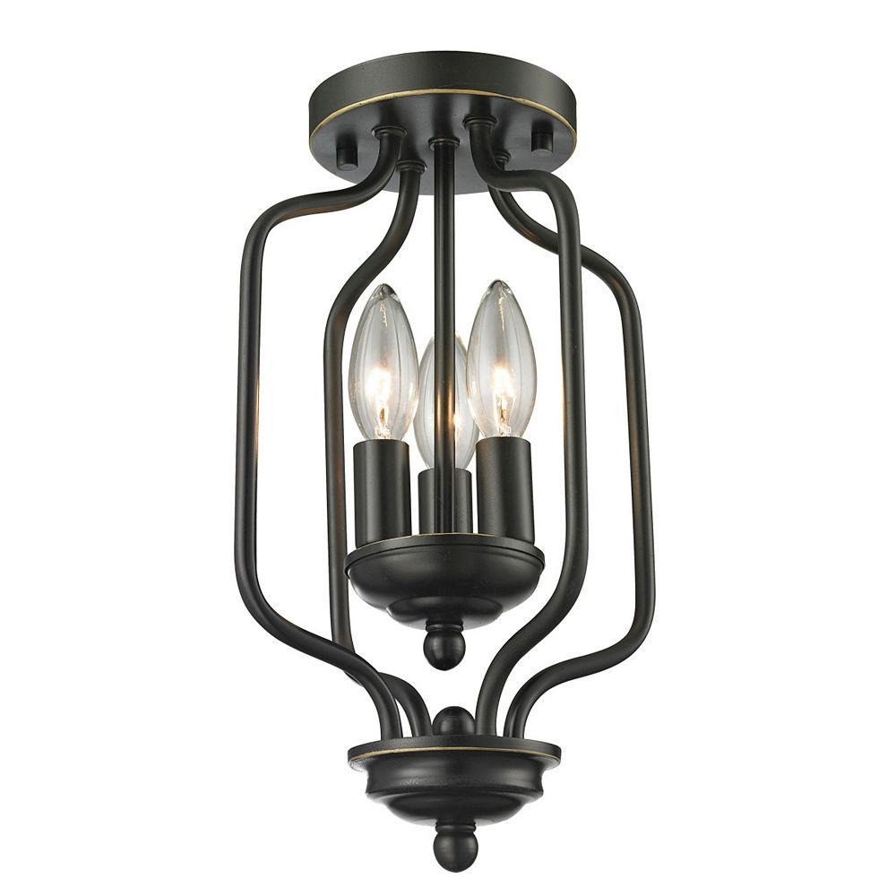Filament Design Plafonnier bronze à 3 ampoules - 8 pouces