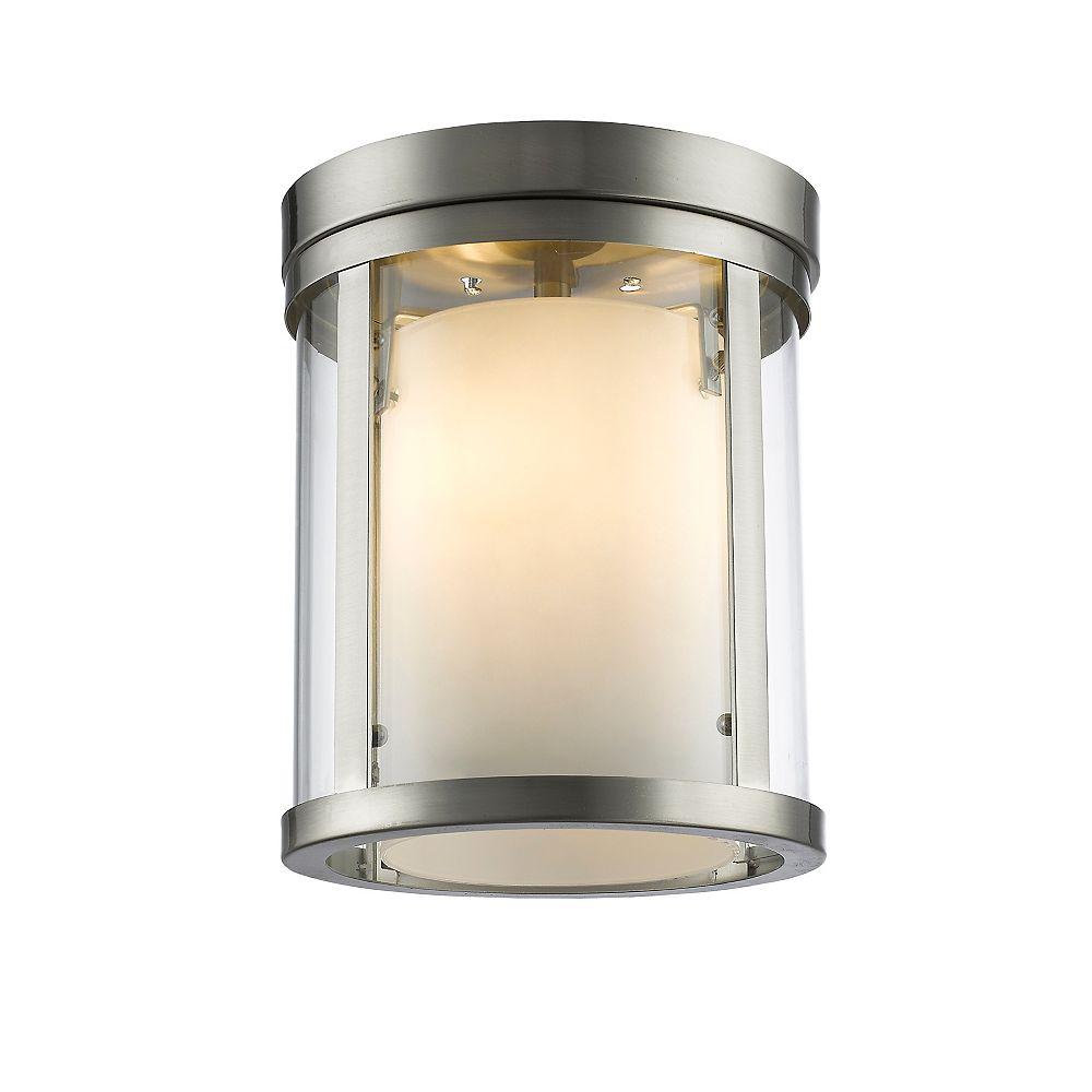 Filament Design Plafonnier à 3 ampoules Nickel Brossé avec Verre Opale Clair et Mat - 9 Pouces