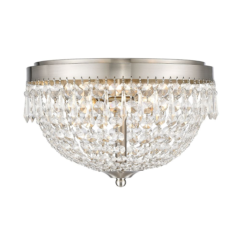 Filament Design 3-Light Brushed Nickel Flush Mount with Clear Crystal Accents - 13 inch