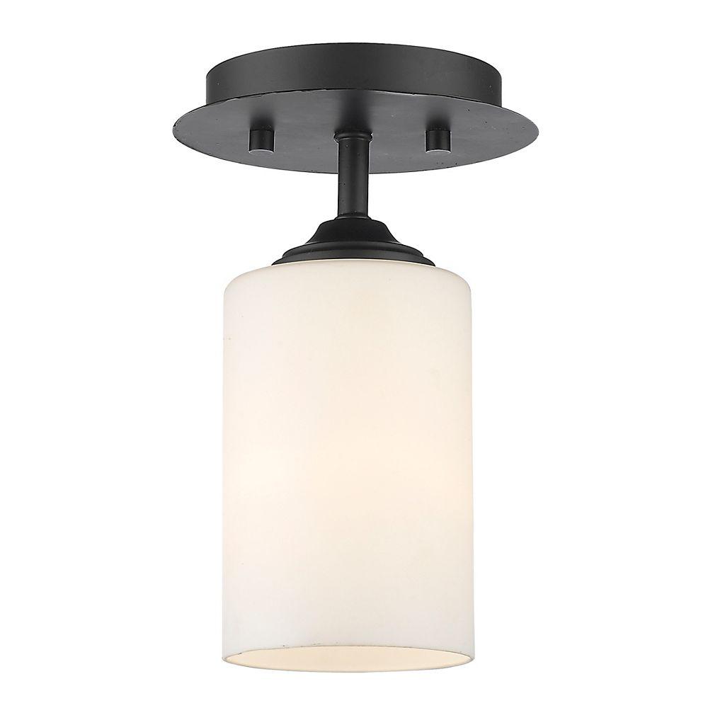 Filament Design 1-Light Bronze Flush Mount with Matte Opal Glass - 5.5 inch