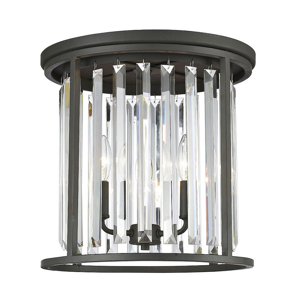 Filament Design Plafonnier à 3 ampoules bronze avec cristaux transparents - 14 pouces