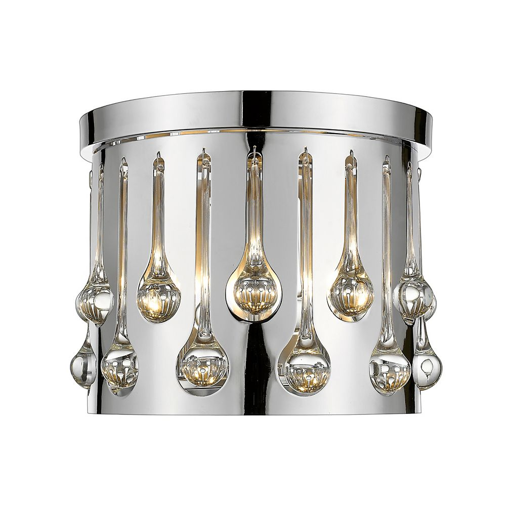 Filament Design 3-Light Chrome Flush Mount with Chrome and Crystal and Steel Shade - 13 inch