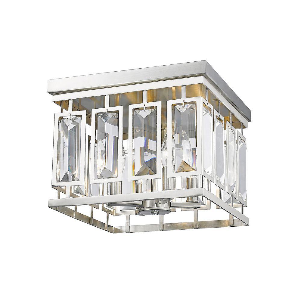 Filament Design Plafonnier à 4 ampoules au fini nickel brossé avec cristaux transparents - 12,25 pouces