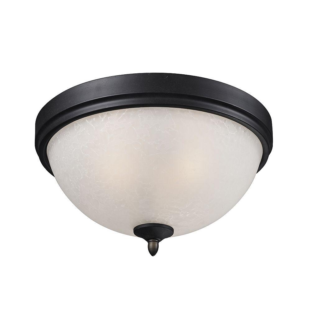Filament Design 2-Light Café Bronze Flush Mount with White Watermark Glass - 13.25 inch