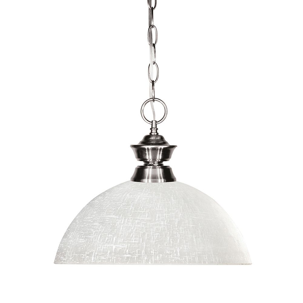 Filament Design 1-Light Brushed Nickel Pendant with White Linen Glass - 13.5 inch