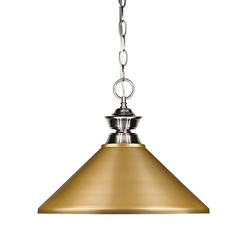1-Light Brushed Nickel Pendant with Satin Gold Steel Shade - 14 inch