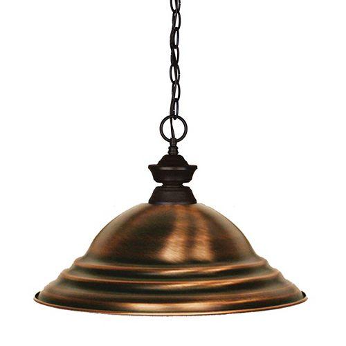 Luminaire suspendu à 1 ampoule en bronze avec abat-jour en acier cuivre antique - 15,75 pouces