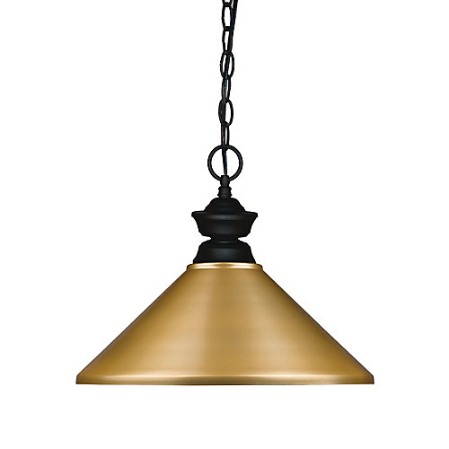 1-Light Matte Black Pendant with Satin Gold Steel Shade - 14 inch