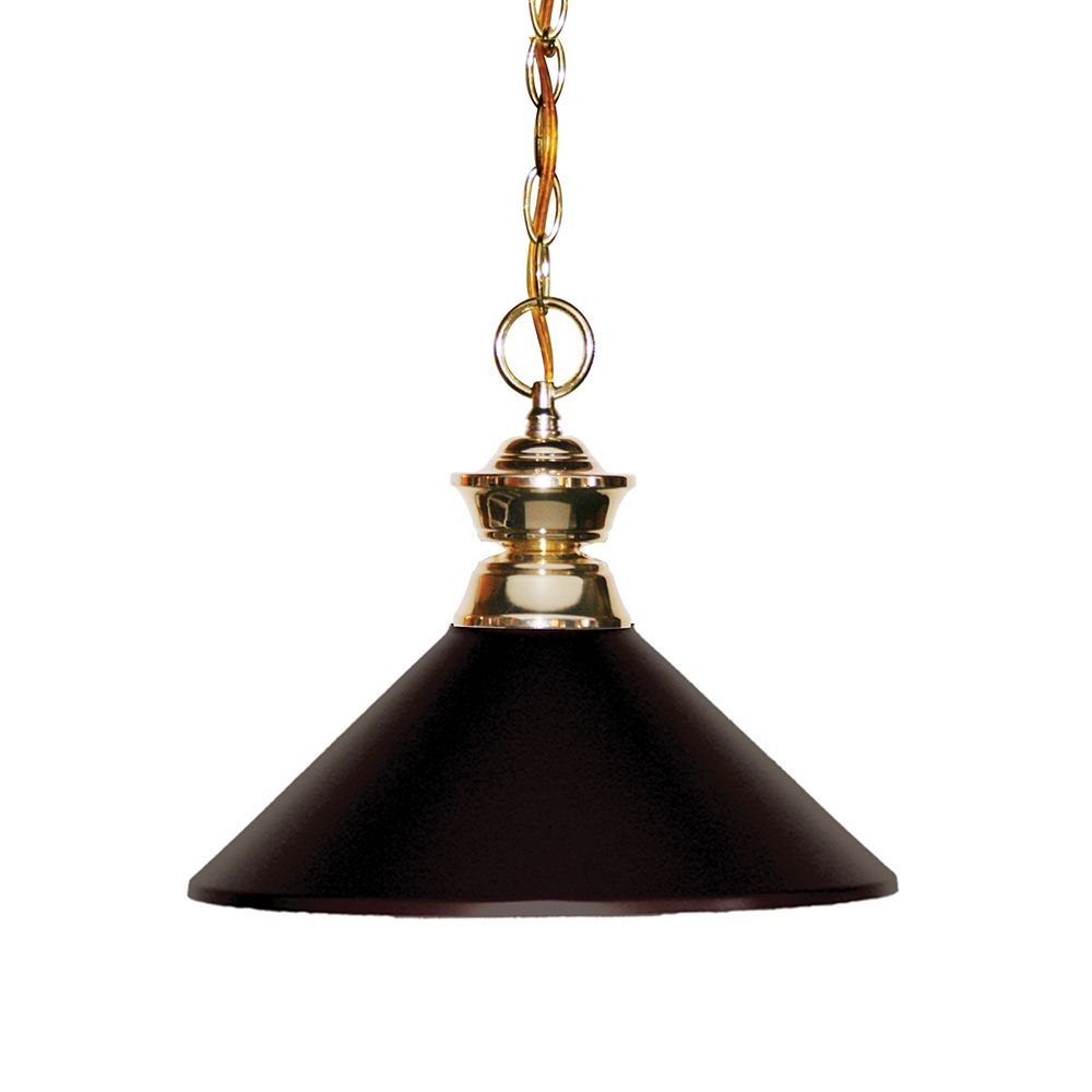 Filament Design 1-Light Polished Brass Pendant with Bronze Steel Shade - 14.25 inch