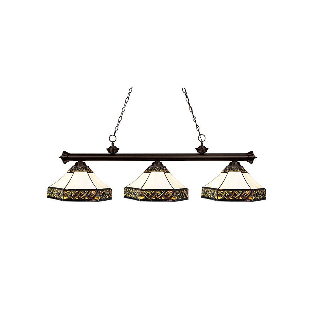 Filament Design 3-Light Bronze Island/Billiard with Multi Colored Tiffany Glass - 56 inch