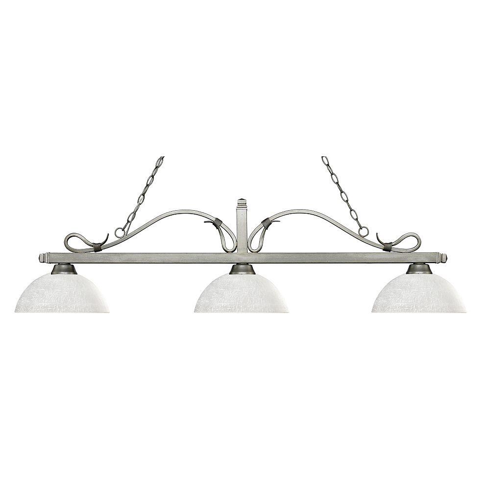 Filament Design 3-Light Antique Silver Island/Billiard with White Linen Glass - 57.5 inch