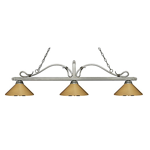 3-Light Antique Silver Island/Billiard with Polished Brass Steel Shade - 58.25 inch