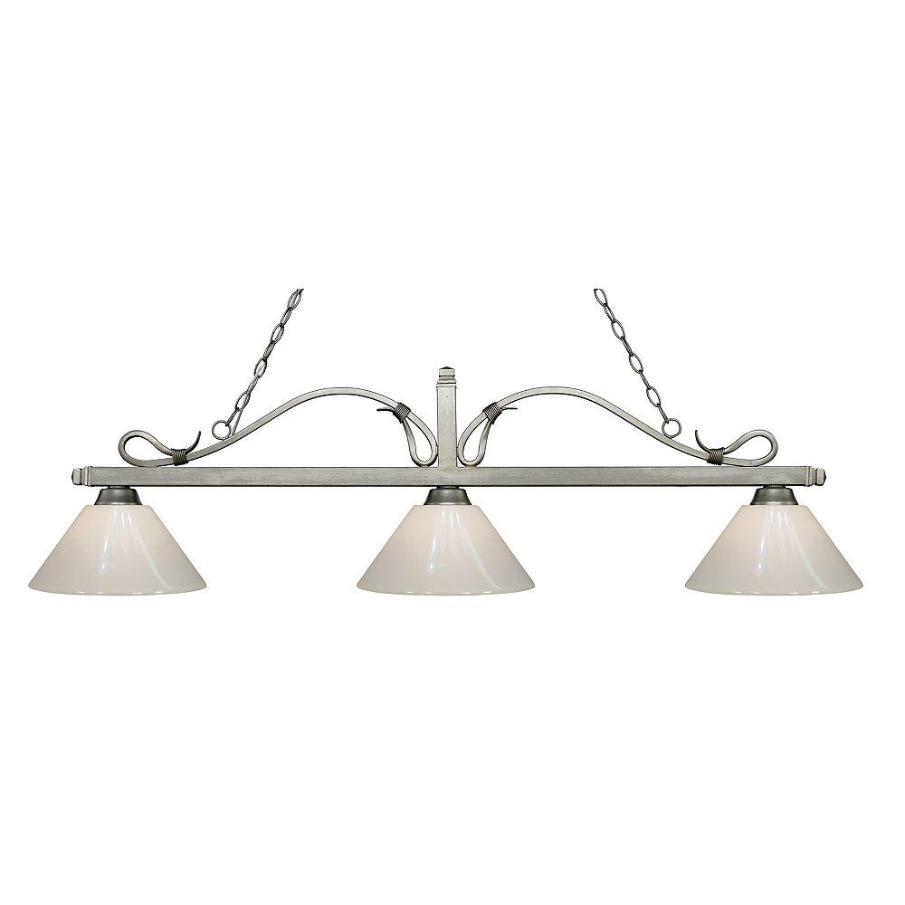 Filament Design Billard français avec 3 lampes antiques Silver Island - 58 pouces