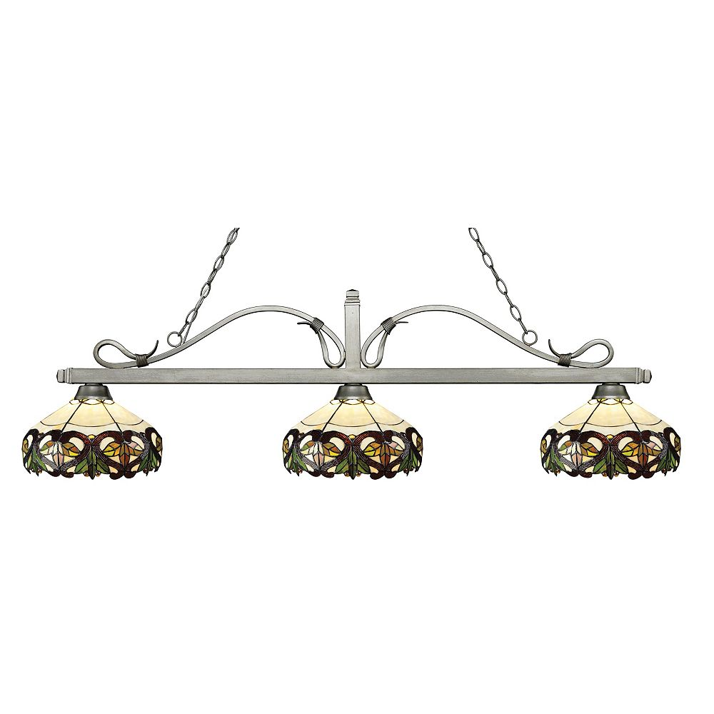 Filament Design 3-Light Antique Silver Billiard with Multi Colored Tiffany Glass Shades - 58 inch