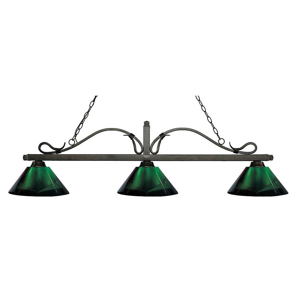 Filament Design 3-Light Golden Bronze Island/Billiard with Green Acrylic Shade - 58.25 inch