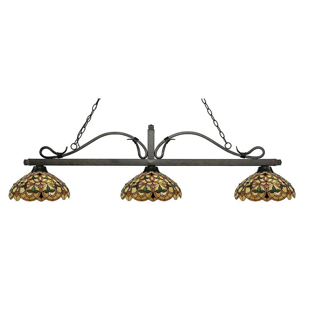 Filament Design Billard bronze doré à 3 ampoules avec abat-jour en verre Tiffany multicolore - 57,75 pouces