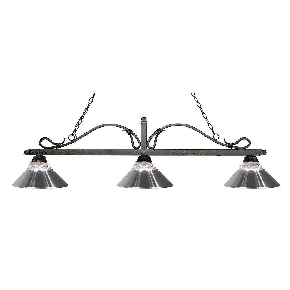 Filament Design Billard Île / Île en bronze doré à 3 ampoules avec abat-jours en acier côtelé et chrome