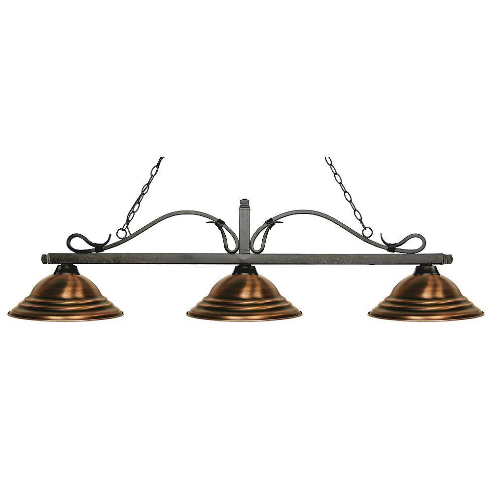 Filament Design 3-Light Golden Bronze Island/Billiard with Antique Copper Steel Shade - 59.75 inch