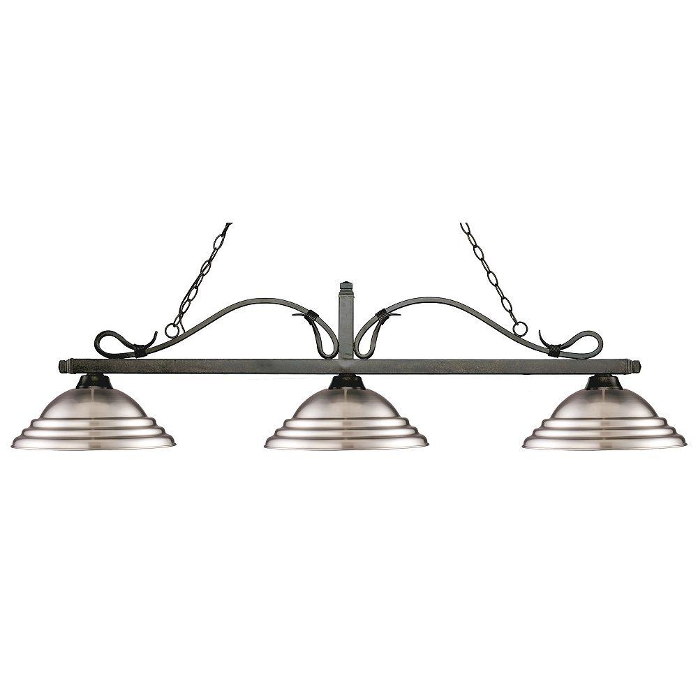 Filament Design Island / Billard à 3 ampoules et bronze doré avec abat-jour en acier nickelé - 59,75 pouces