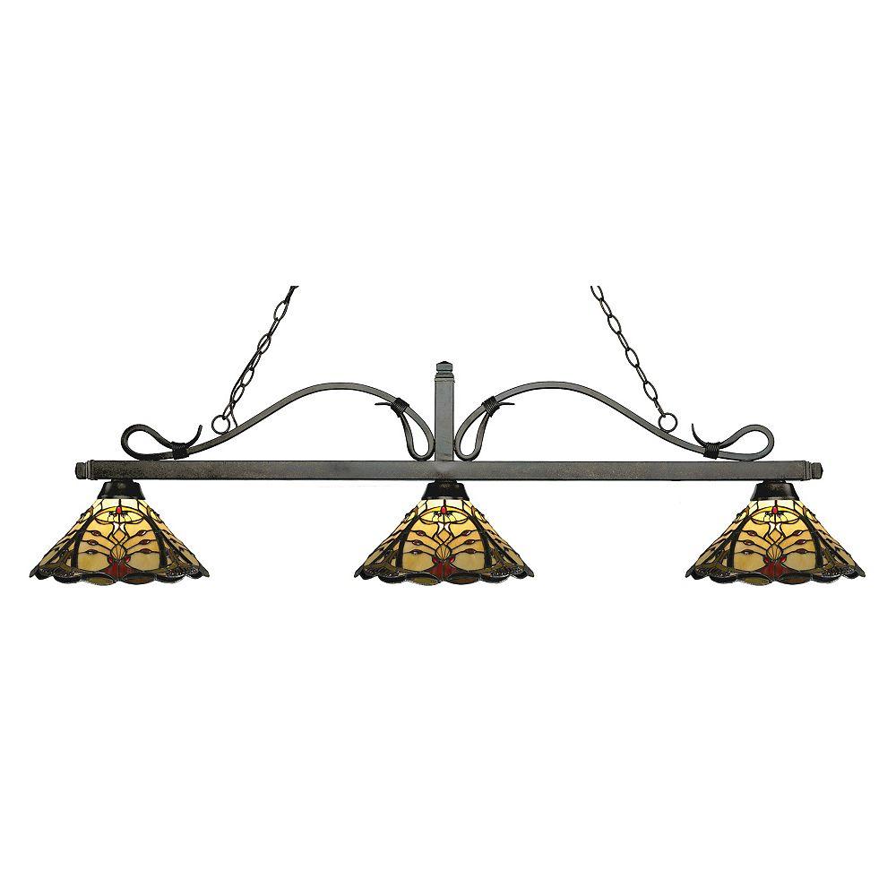 Filament Design Billard bronze doré à 3 ampoules avec verre Tiffany multicolore - 58 po
