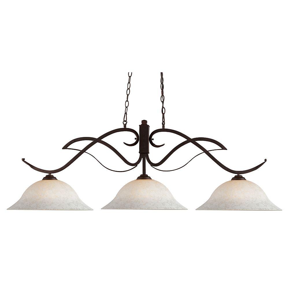 Filament Design 3-Light Bronze Island/Billiard with White Mottle Glass - 54 inch