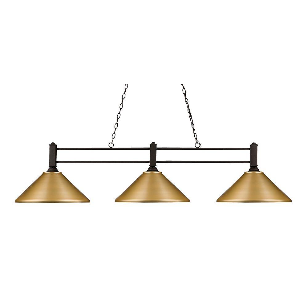 Filament Design 3-Light Bronze Billiard with Satin Gold Steel Shades - 55 inch