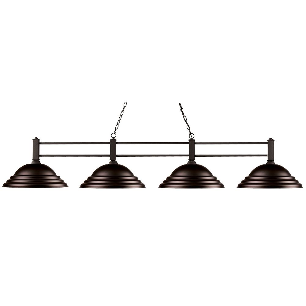Filament Design Îlot / Billard à 4 ampoules avec abat-jour en acier bronze - 71 pouces