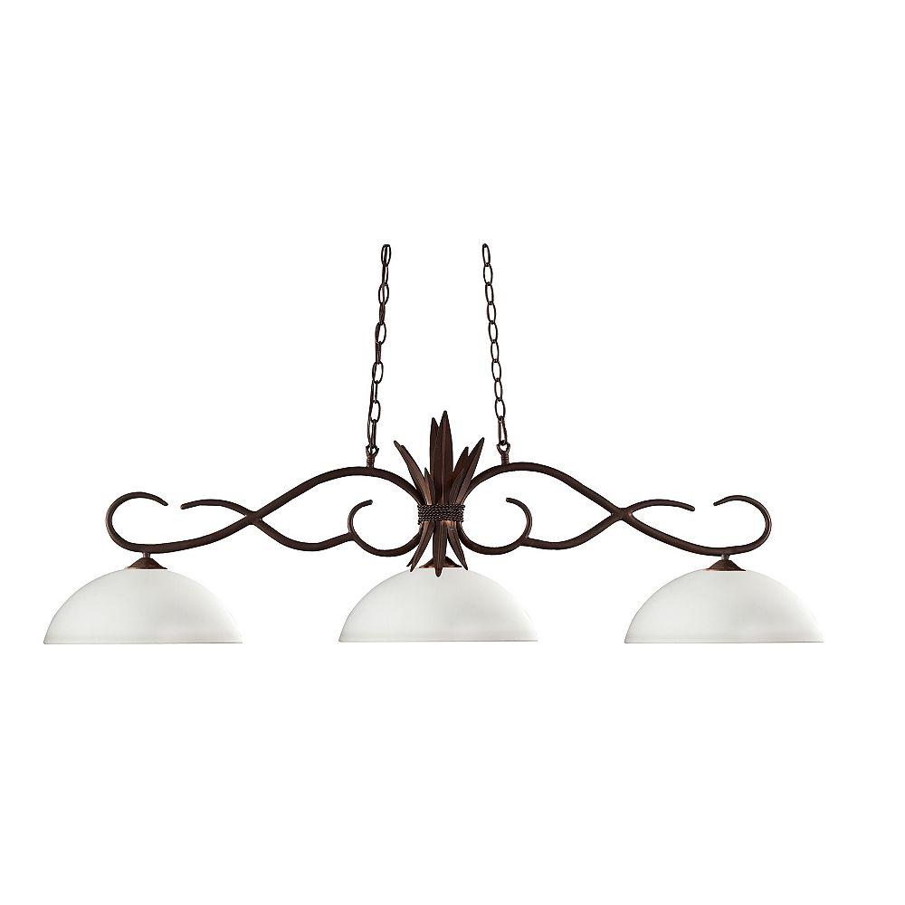Filament Design Billard en bronze à 3 ampoules avec abat-jour en verre opale mat - 55 pouces