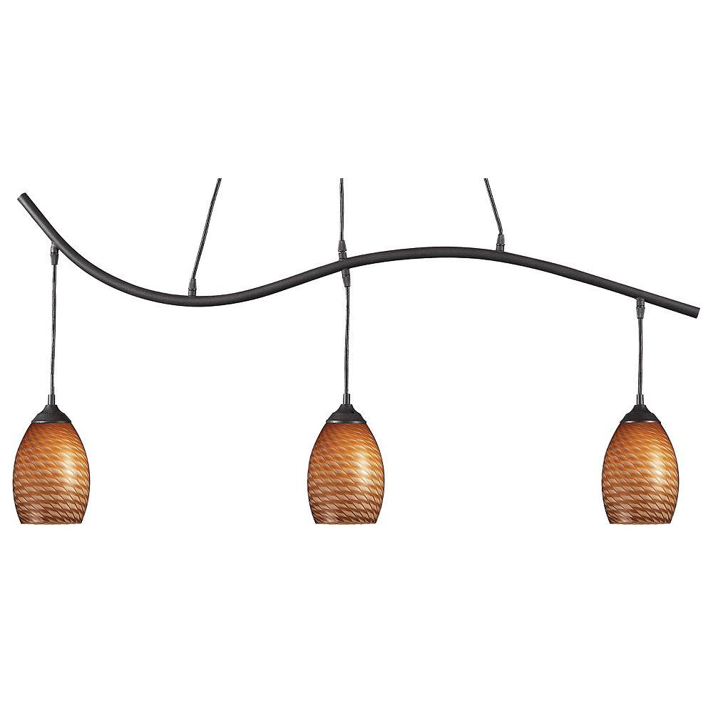 Filament Design 3-Light Sand Black Island/Billiard with Carmel Glass - 48 inch