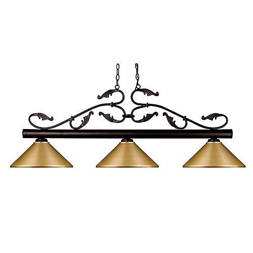 3-Light Bronze Island/Billiard with Satin Gold Steel Shade - 53.75 inch