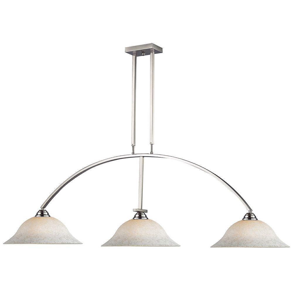 Filament Design Island / Billard à 3 ampoules, nickel brossé blanc