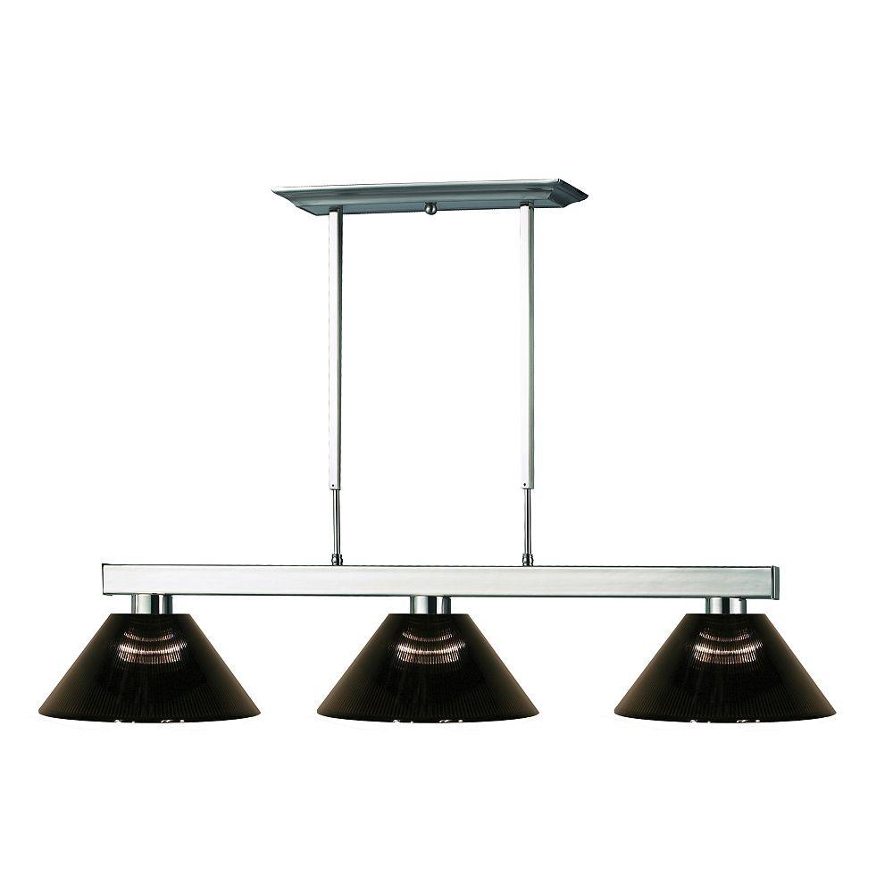 Filament Design 3-Light Brushed Nickel Island/Billiard with Smoke Acrylic Shade - 46 inch