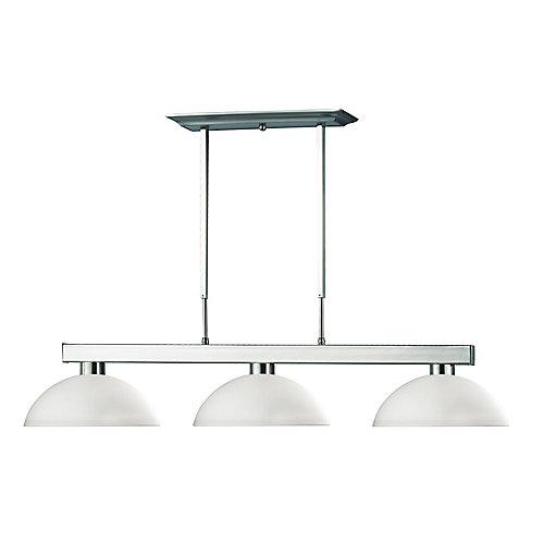 3-Light Brushed Nickel Island/Billiard with Matte Opal Glass - 46 inch