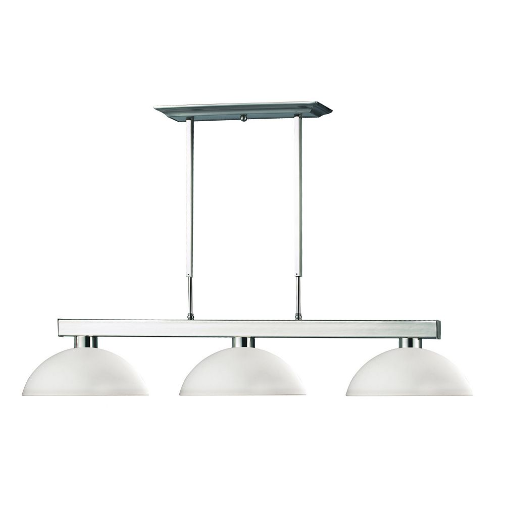Filament Design 3-Light Brushed Nickel Island/Billiard with Matte Opal Glass - 46 inch