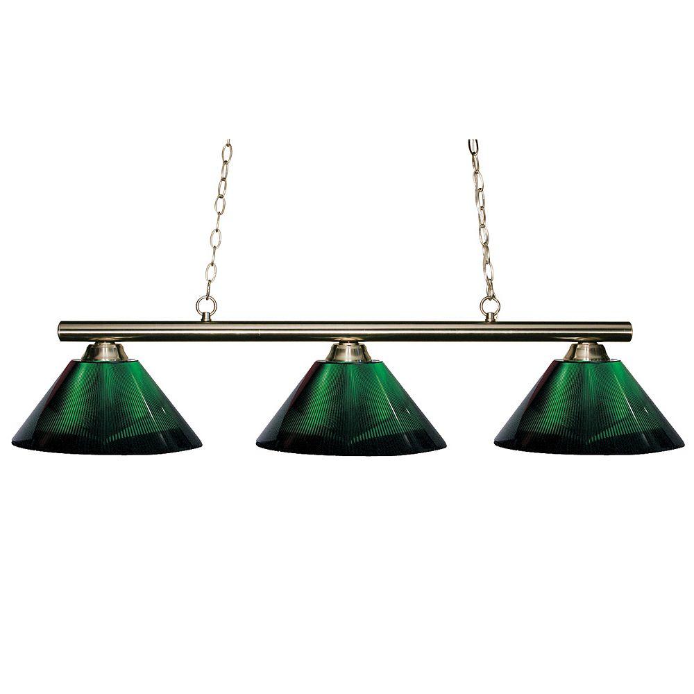 Filament Design 3-Light Brushed Nickel Island/Billiard with Green Acrylic Shade - 48 inch