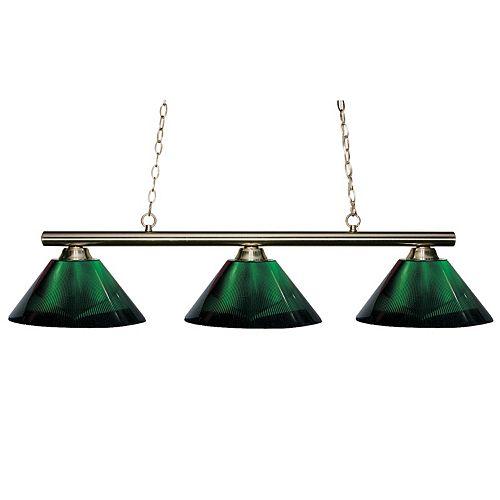 3-Light Brushed Nickel Island/Billiard with Green Acrylic Shade - 48 inch
