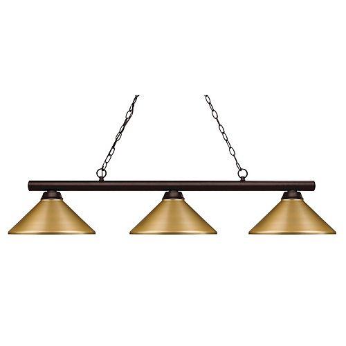 3-Light Bronze Island/Billiard with Satin Gold Steel Shade - 48 inch